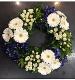 Round Blue and White Wreath