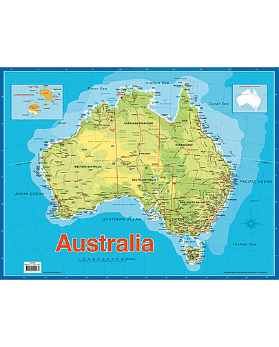 Map Of Australia To Buy.Map Of Australia Educational Chart