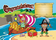 Pirate Treasure Congratulations (35) Paper Certificates