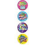 Happy Birthday Large Merit Stickers (48). NOW HOLOGRAPHIC
