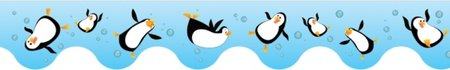 Penguins Scalloped Border (CARD) OLD DESIGN