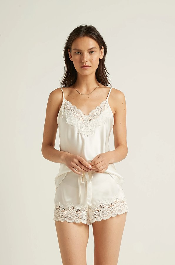 Silk With Lace Cami and Boxer Set - Image 1