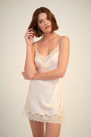 Silk Chemise With Lace - Image 3