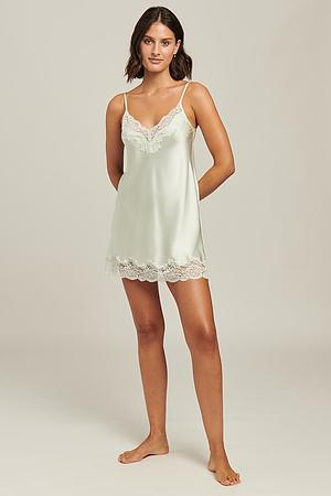 100% Silk Chemise With Lace - Image 5