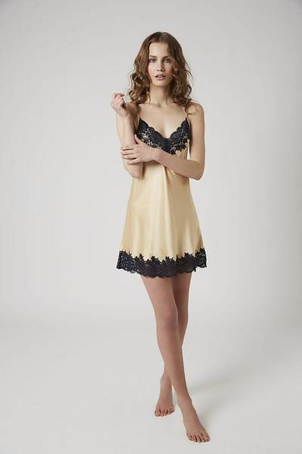 Silk Chemise With Lace - Image 1