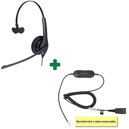 Jabra BIZ 1500 Mono Noise Cancelling Headset Bundle