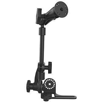 RAM-316-HDR-202U  RAM (Reverse Configuration) Universal No-Drill™ RAM POD HD Vehicle Mount with Double Socket Arm and 2.5inch Round Base (AMPs Hole Pattern)