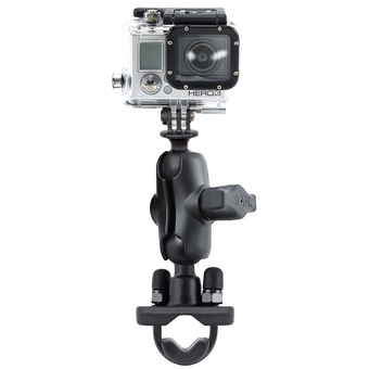 RAM-B-149Z-A-GOP1U  RAM Handlebar Rail Mount, Zinc Coated U-Bolt, Short Double Socket Arm and 1inch Diameter Ball with Custom GoPro Hero Adapter
