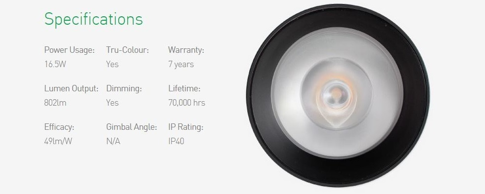 Specification of P900 Curve LED Downlight