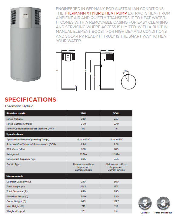 Thermann Hybrid Specifications