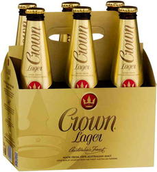 CROWN LAGER 375ML STUBBIES 6PK