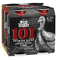 WILD TURKEY AND COLA 101 6.5% CANS 4PK