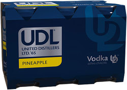 UDL VODKA PINEAPPLE 6PACK CANS