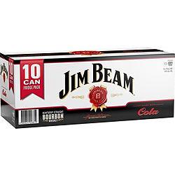 JIM BEAM AND COLA 375ML 10PK