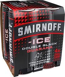 SMIRNOFF ICE BLACK AND GUARANA CANS 4PK