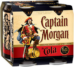 CAPTAIN MORGAN SPICED AND COLA CANS 4PK