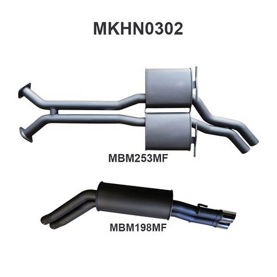 "Manta Aluminised Steel 2.5"" Dual Cat-Back (quiet) for Holden Statesman-Caprice WK, WL V8 5.7 Litre LWB Sedan 2003 - 2006 - Image 1"
