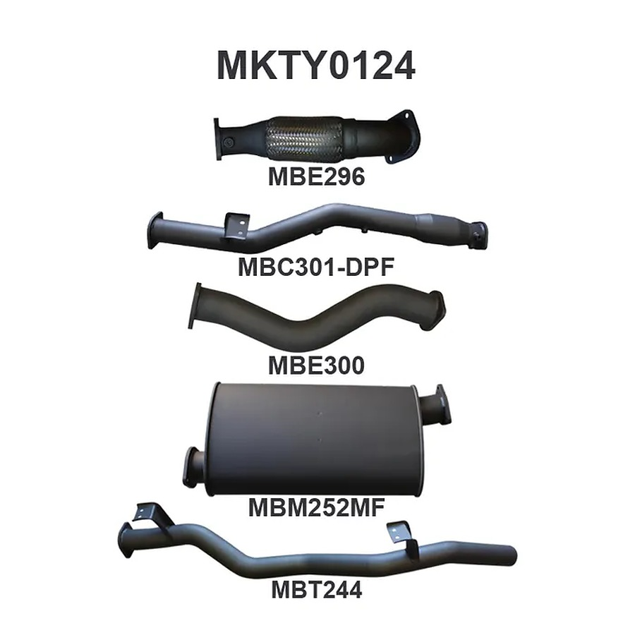"""Manta Aluminised Steel 3.0"""" Single turbo-back-dpf-delete-with-Cat (quiet) for Toyota Landcruiser VDJ79 Single and Dual Cab 4.5 Litre 1VD V8 Turbo Diesel Ute (with DPF) Oct 2016 on - Image 1"""