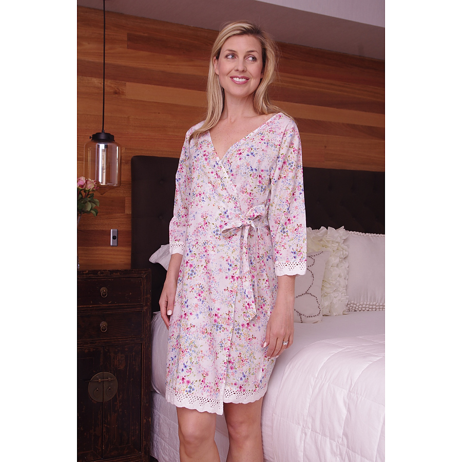 Cotton Dressing gown MND 693  Cotton Nightgown wrap  � 36� length