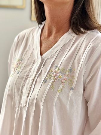 Cotton Nightie MND 774  Cotton nightie 48 inch white long sleeve with embroidery - Image 3