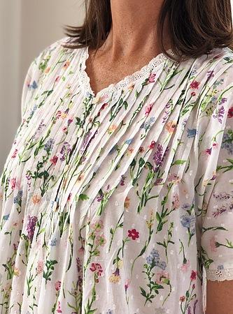 Cotton Nightie MND 778G  Cotton nightie 48 inch short sleeve garden print - Image 2