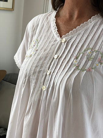 Cotton Nightie MND 778W  Cotton nightie 48 inch white short sleeve with embroidery - Image 3