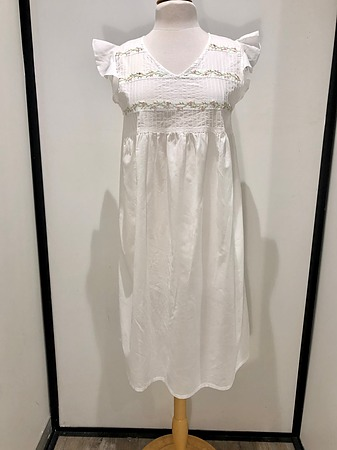 Cotton Nightie MND 781  Cotton nightie white sleeveless with embroidery - Image 2