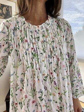 Cotton Nightie MND 783G Cotton nightie 48 inch Garden print long sleeve - Image 2