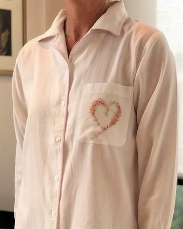 Cotton Nightie MND 785 White brushed twill sleepshirt with Embroidery - Image 2