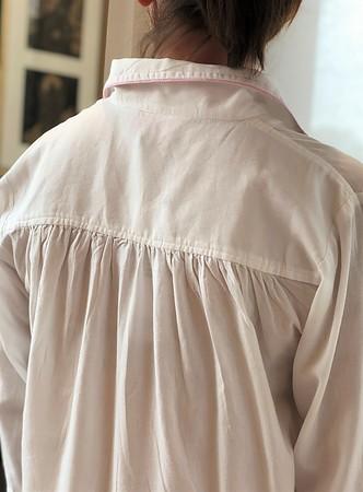 Cotton Nightie MND 785 White brushed twill sleepshirt with Embroidery - Image 3