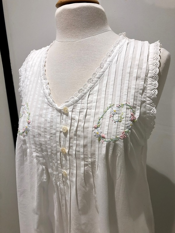 Cotton Nightie MND777W  Cotton nightie white sleeveless, lace trim  with embroidery