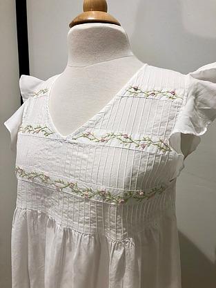 more on Cotton Nightie MND 781  Cotton nightie white sleeveless with embroidery