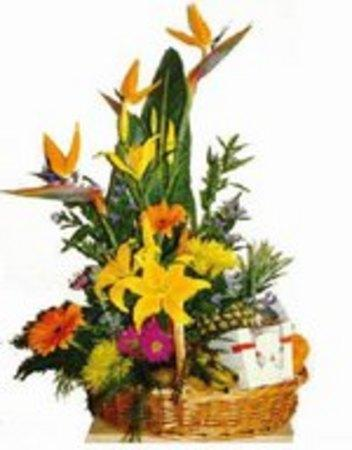 Basket of Flowers Chocolates and Fruit - Image 1