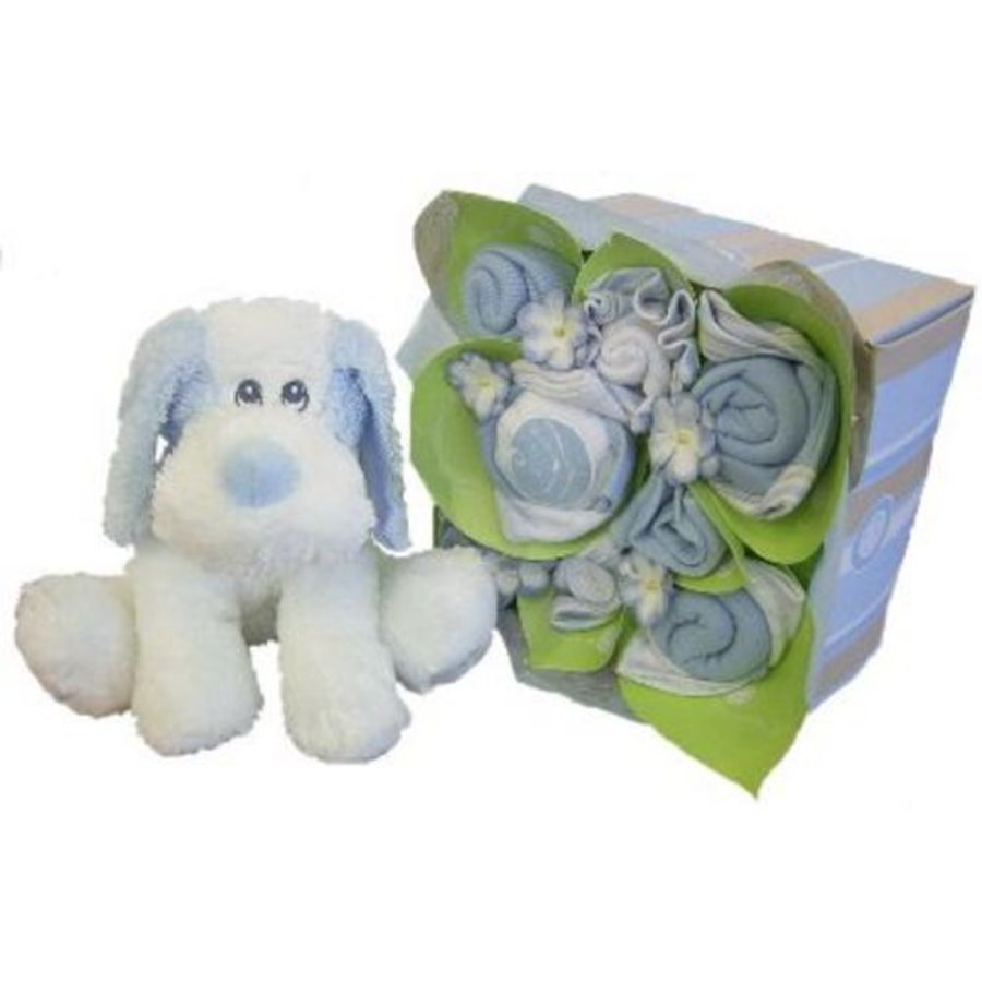 Baby Gift Hamper Perth : Heaven sent with blue puppy baby gift baskets gifts