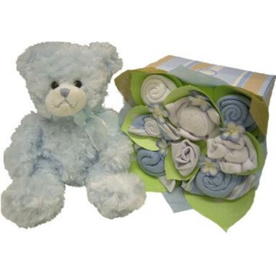Baby Gift Baskets Perth : Heaven sent in sky and blue teddy baby gift baskets