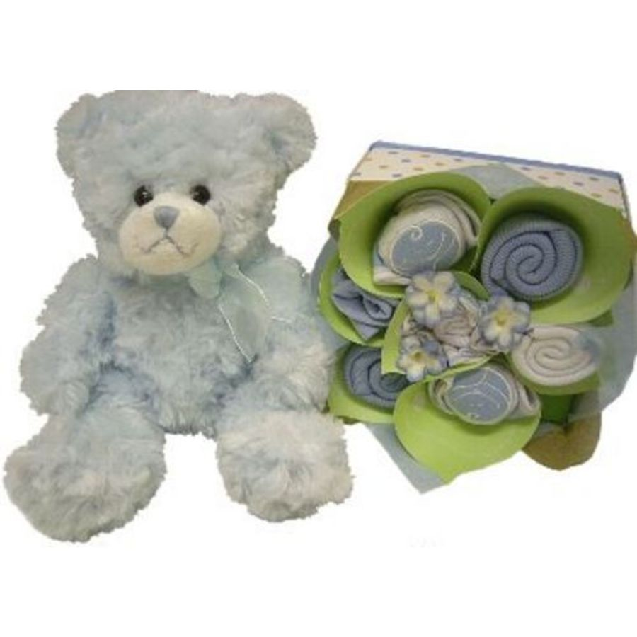 Baby Gift Hamper Perth : Baby blue bear and playtime clothing gift baskets