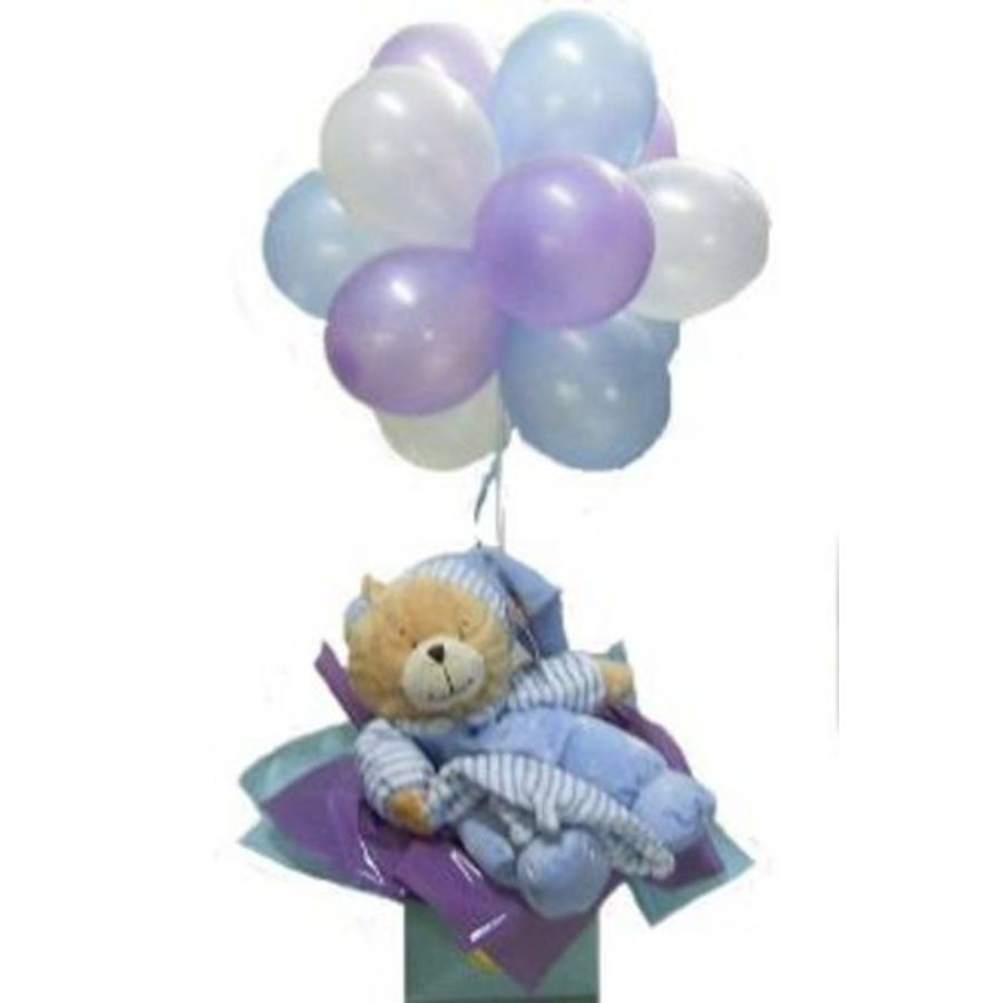 Baby Gift Baskets Wa : Teddy topiary in blue balloons balloon bouquets
