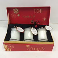 NEW - Glasshouse Fragrances -Christmas Collection Miniature Candle Trio