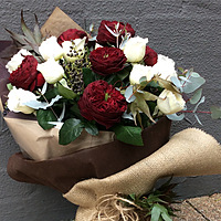 Compact Posy Bouquet of Coloured Roses