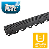 Reln Storm Mate Channel and Grate - Garage Pack includes 3 x 1m Storm Mate Channels and Heel guard Plastic Black Grates