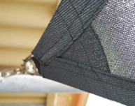 Shade sail corner, reinforced, double webbing, double stitching