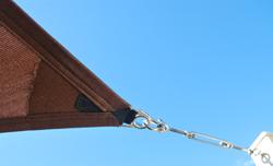 Shade sail corner showing stainless steel hardware