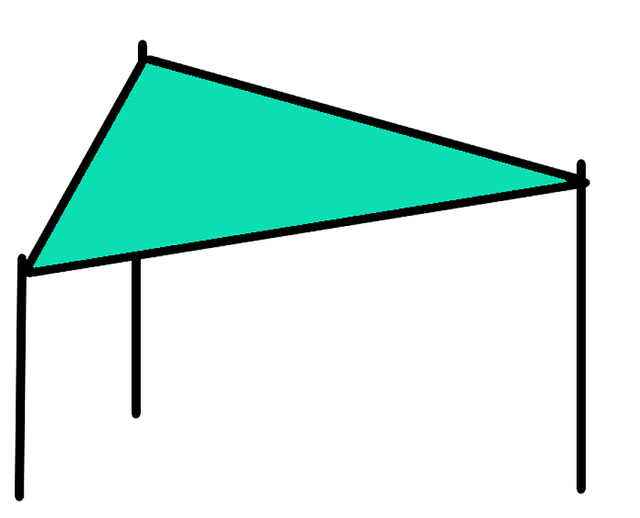 3 x 3 x 4 Triangular Shade Sail Delivered Australia Wide - Image 1