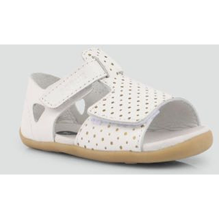 Step Up Mirror Sandal Shell White with Gold Spots - Image 1