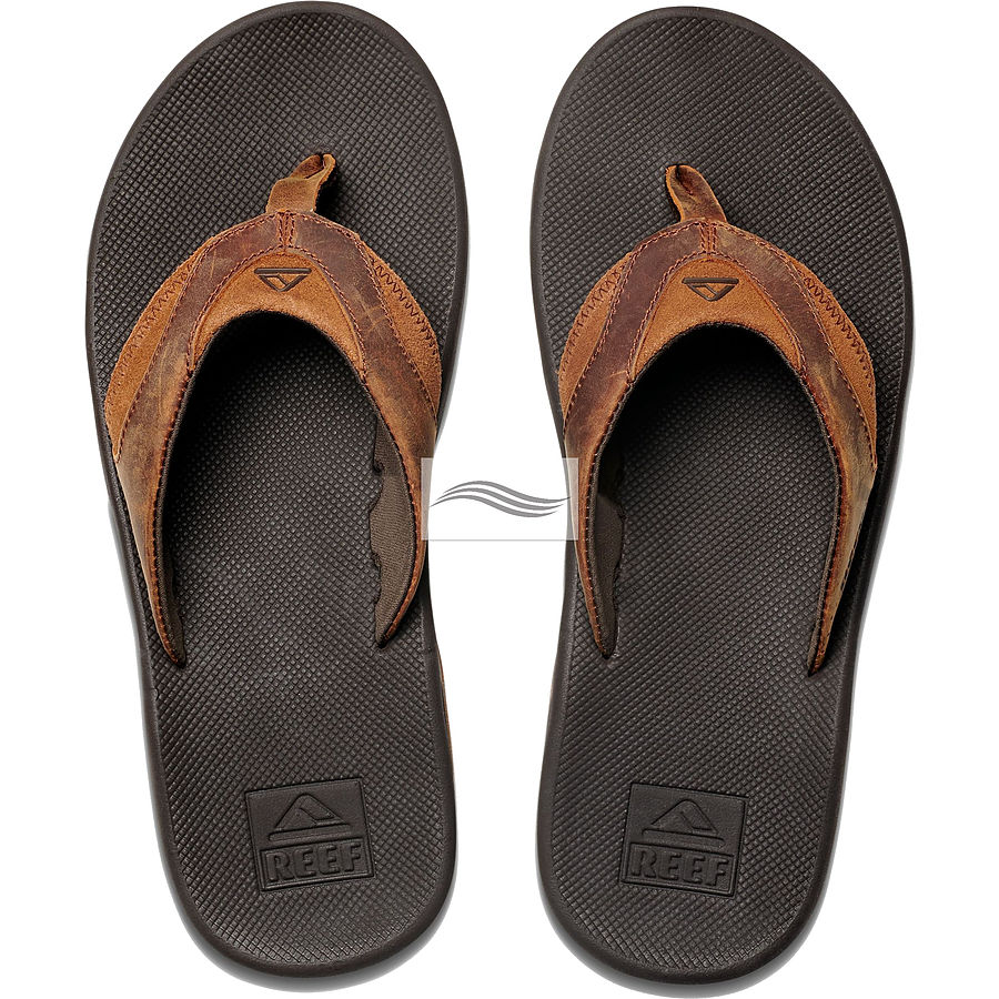 Reef Leather Fanning Bronze Mens Thongs