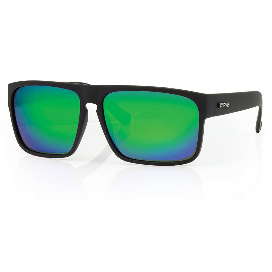 Carve Eyewear Vendetta Matte Black Green Iridium Polarized Sunglasses
