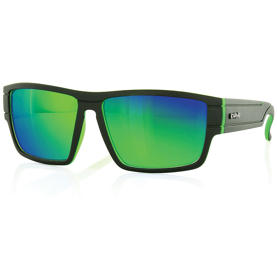 Carve Eyewear Sublime Matt Black With Green Revo Sunglasses