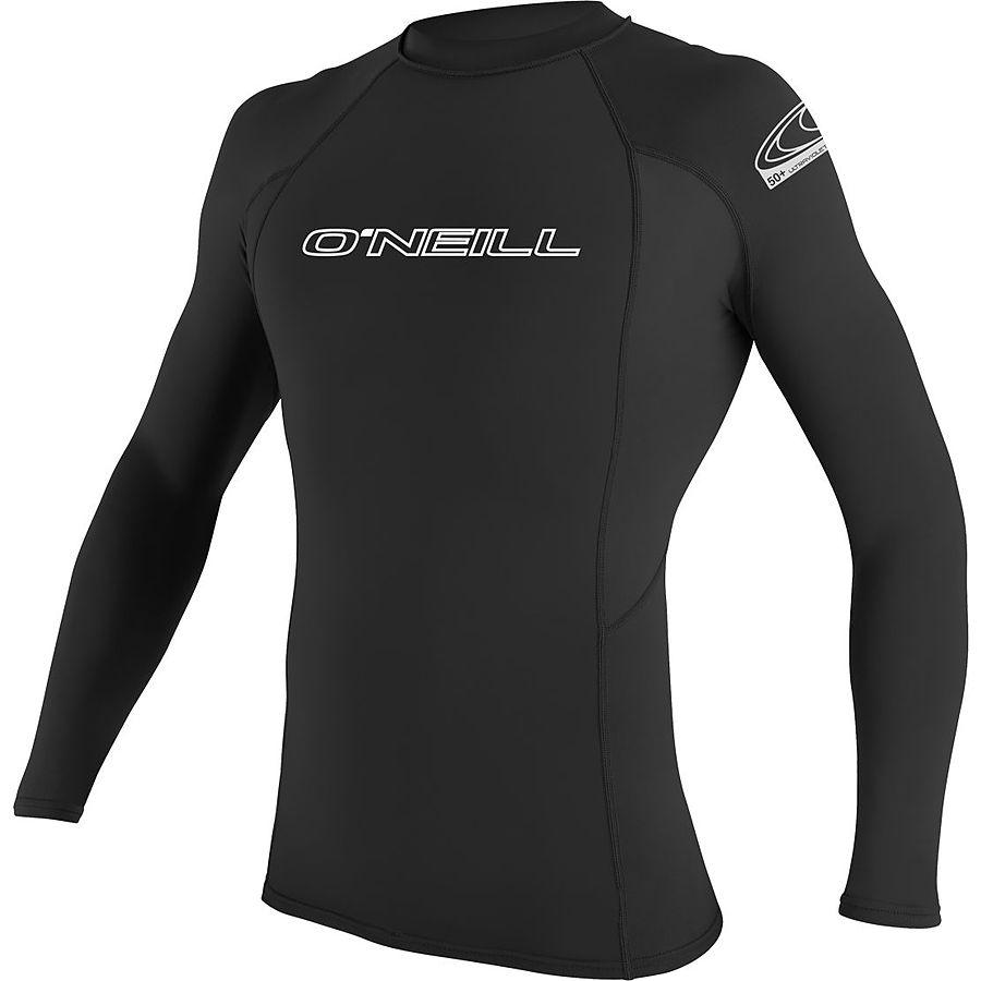 Oneill Mens 6oz Basic Skins LS Crew Rash Vest Black