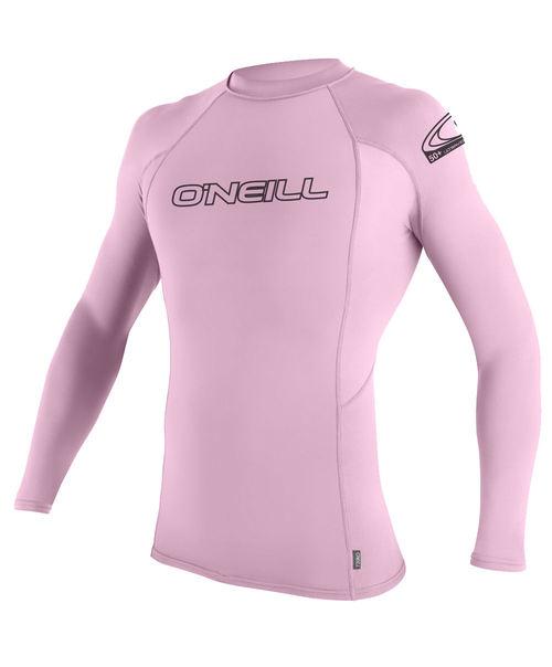 Oneill Kids Basic Skins L/S Rash Vest Crew Pink