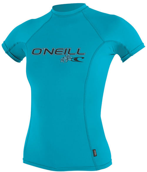 Oneill 6oz Basic Skins SS Ladies Crew Rash Vest Turquoise Loose fit